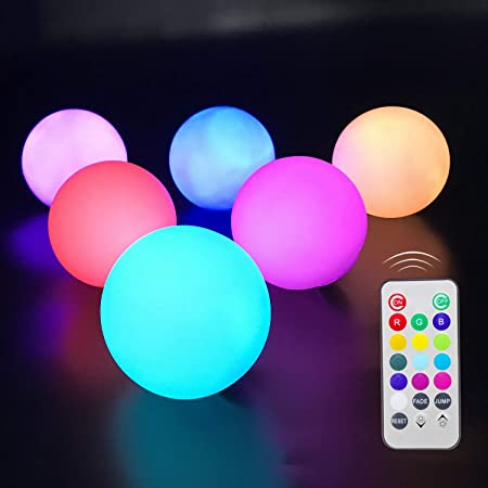 Lawn and Patio Decor Chakev Cordless Floating Ball Light with Remote 6-inch Color Changing Glow Ball Mood Light Rechargeable Waterproof Sphere Light Ball Perfect for Pool Yard Garden