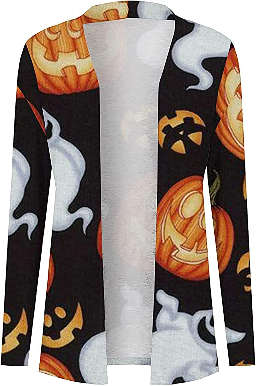 Women's Halloween Long Sleeve Black Cat Open Front Cardigan Funny Cute Pumpkin Ghost Lightweight Coat