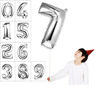 House of Quirk 16 Inch 7 Number Balloon Silver Foil Large Number Giant Helium Balloon Birthday Party Decoration(Pack of 1) - Silver