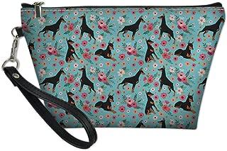 HUGS IDEA Teen Girl PU Leather Toiletry Bag Doberman Floral Print Protable Handle Cosmetic Pouch
