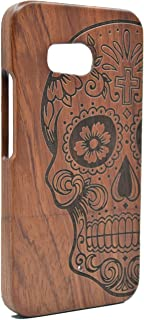 PhantomSky HTC U11 Wooden Case, Premium Quality Handmade Natural Wood Cover for Your Smartphone - Rosewood Skull