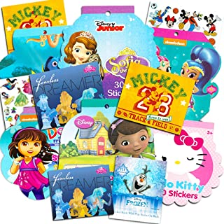 Stickers for Girls Toddlers Kids Ultimate Set ~ 11 Sticker Packs with Over 2000 Stickers Featuring Disney Frozen, Minnie Mouse, Dora The Explorer, Hello Kitty and More (Girl Stickers, Party Favors)