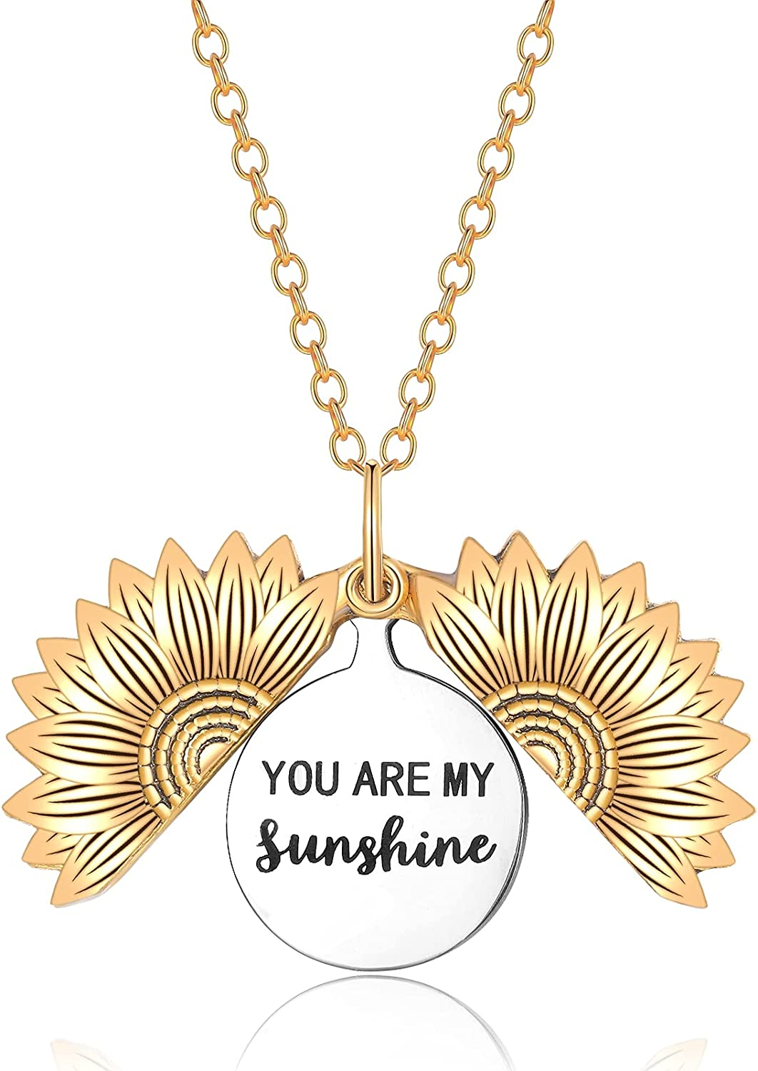 morniface Sunflower Necklace Gift for Women Girls,You are My Sunshine Necklace,Inspirational Sunflower Locket Necklace Graduation Gift
