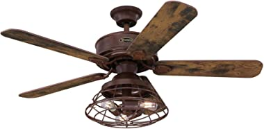 Westinghouse Lighting 7220500 Barnett 48-Inch Barnwood Indoor, Dimmable LED Light Kit with Cage Shade, Remote Control Include