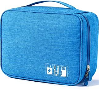 Electronics Accessories Organizer Bag, Universal Travel Digital Accessories Storage Bag for Portable Charger, Cables, Earphone, Ipad Mini, iPhone, Cord, Customize Inside with Dividers - Blue