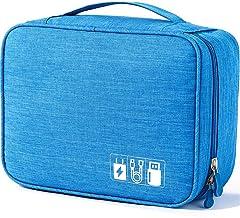 کیف لوازم جانبی لوازم الکترونیکی ، کیف ذخیره سازی لوازم جانبی دیجیتال جهانی برای شارژر قابل حمل ، کابل ها ، گوشی ، Ipad Mini ، آیفون ، سیم ، سفارشی کردن داخل با تقسیم - آبی