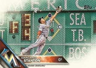 2016 Topps Variation #269B Giancarlo Stanton SP Camo - Miami Marlins (Short Print) MLB Baseball Card NM-MT (VAR: Horinzontal, jumping for ball, camo jersey letters)