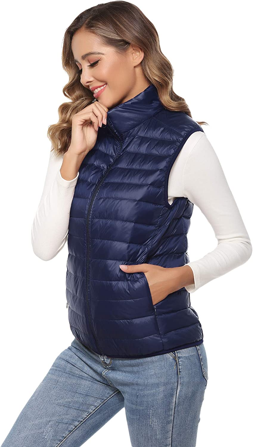 Hawiton Womens Lightweight Down Packable Vests Alternative Outerwear Zipper Vest Jacket