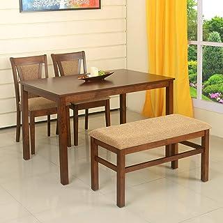 @home by Nilkamal Jewel 4 Seater Dining Table Set (Walnut)