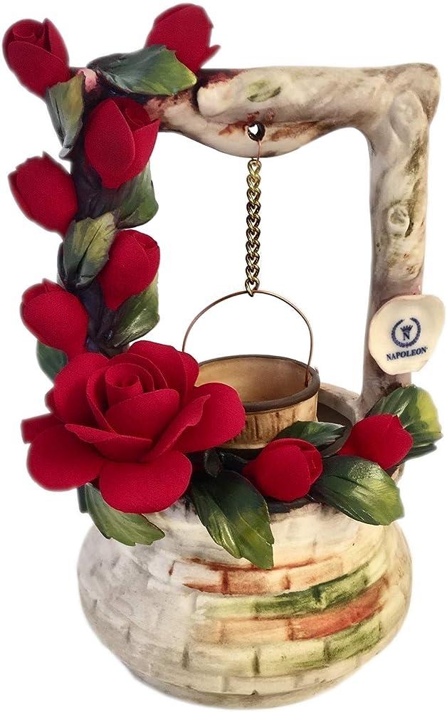 Pozzetto dei desideri con rose rosse, soprammobile in porcellana, fatto a mano in italia, stile capodimonte