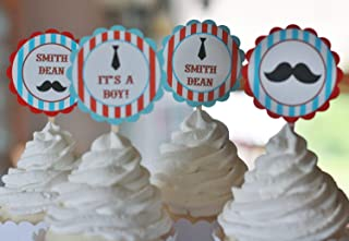 12 - Little Man Barber Shop Vintage Mustache, Bowtie or Necktie Baby Shower Cupcake Toppers - Blue & Red Stripe- Party Packages, Favor Tags, Banners, Door Signs Available