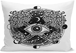 Semtomn Throw Pillow Covers All Seeing Eye Tattoo Occult Masonic Magic Key Mystical Esoteric Symbol of Secret Knowledge Pillow Case Cushion Cover Lumbar Pillowcase for Couch Sofa 20 x 36 inchs