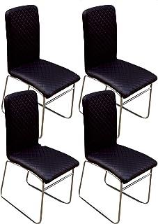 Abitti Pack 4 sillas Modernas con Pata Patin cromada y Polipiel Negra para Comedor o salón