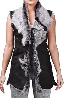 Women's Long Black and Grey Suede Toscana Shearling Sheepskin Gilet