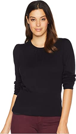 Long Puff Sleeve Rib Hem Crew Neck Sweater