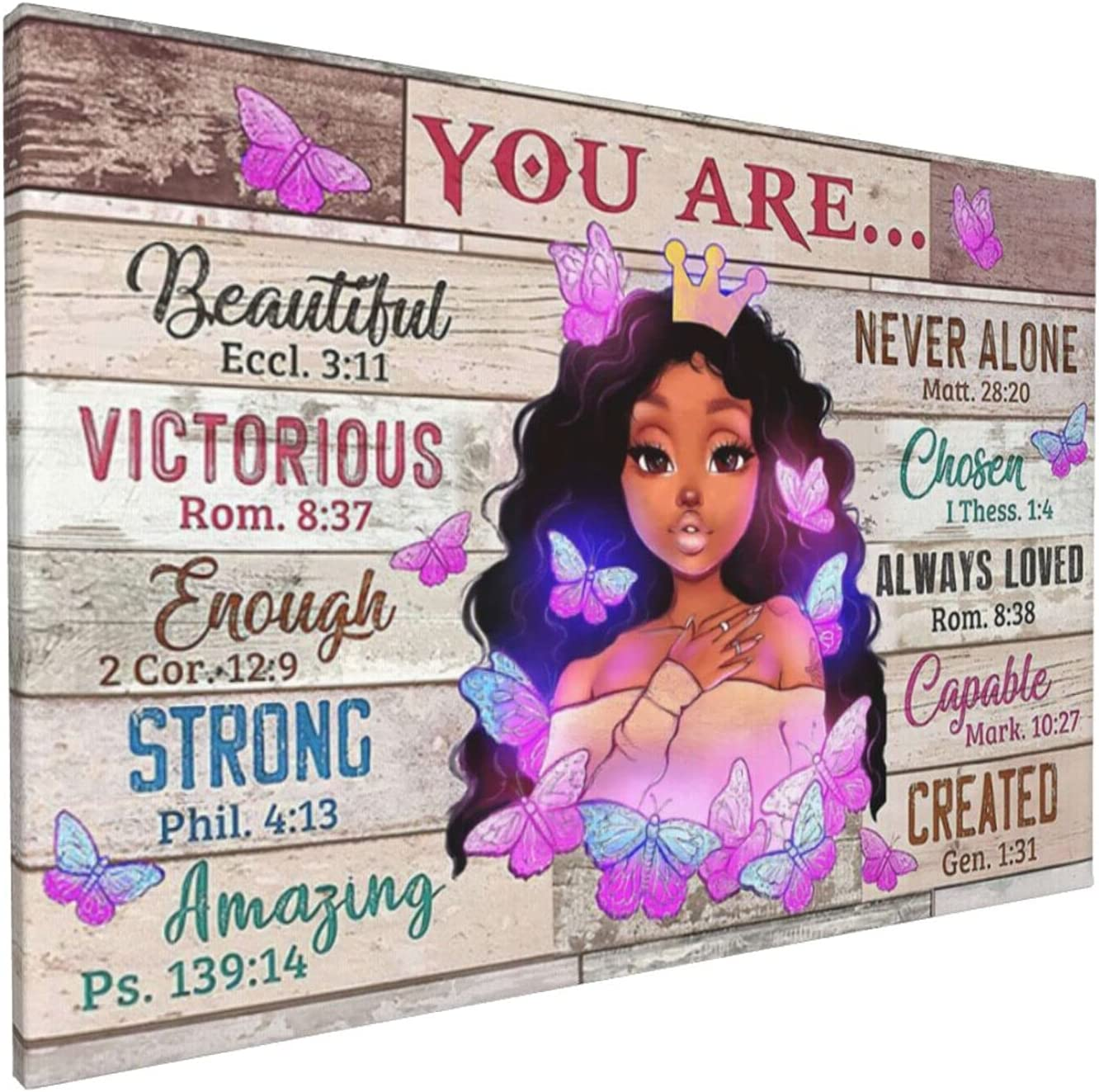 African American Wall Art Black Queen Girl Canvas Print Wall Art Motivational With Black Woman Painting Wall Decor Modern Artwork Home Decoration For Living Room Bedroom Bathroom Office Ready To Hang