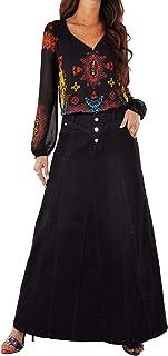 Style J Victoria Black Long Denim Skirt-Black-42(22)