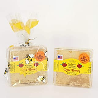 California Raw Desert Wildflower Comb Rose Honey Honeycomb Square Box 11 Ounces Pure 100% Natural Gift Wrapped - Pack Of Two