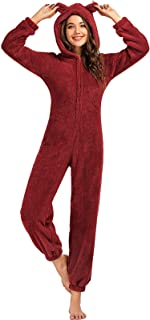 بيجامات من الصوف للنساء من اندوير، ملابس نوم مكونة من قطعة واحدة بسحاب امامي وتصميم لطيف للنساء