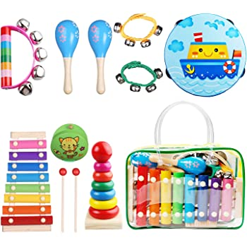 Children Percussion Rhythm Band Set Musical Games Tambourine Present with Carrying Bag Kids Musical Instruments Childom Musical Instruments Set with Xylophone for Kids 27 Backpack