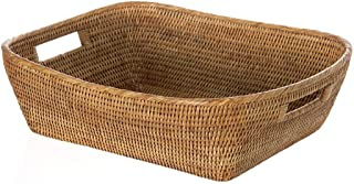 "KOUBOO 1060076 La Jolla Oblong Rattan Storage and Shelf Basket, 19"" x 15"" x 5"", Honey-Brown"