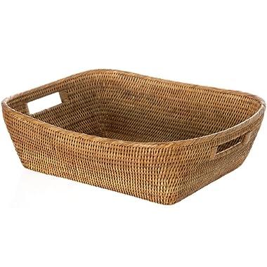 KOUBOO 1060076 La Jolla Oblong Rattan Storage and Shelf Basket, 19  x 15  x 5 , Honey-Brown
