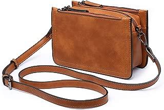 seOSTO Medium Crossbody Bag, Multifunctional Triple Zip Pocket Leather Crossbody Bag for Women