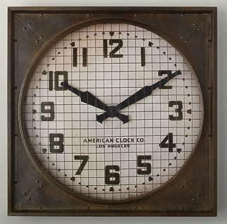U-BLISS 1940S Gymnasium Clock Restoration Hardware Metal Frame Weathered Brown New RH