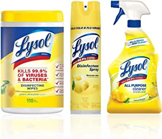 LYSOL Disinfection Bundle: Lysol Disinfecting Wipes (110ct), Lysol Disinfectant Spray (19oz), Lysol All Purpose Cleaner Spray (32oz) 1 ea
