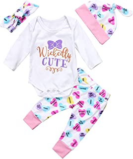 gllive Baby Girls Cute Mommy Daddy's Miracle Clothes Bodysuit Pants Headband Hat 4pcs Outfits Set