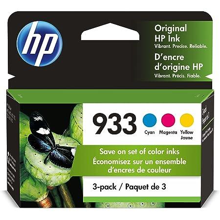 HP 933 | 3 Ink Cartridges | Cyan, Magenta, Yellow | Works with HP OfficeJet 6100, 6600, 6700, 7110, 7510, 7600 Series | CN058AN, CN059AN,CN060AN
