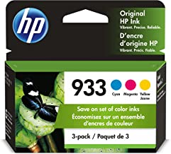 HP 933 | 3 Ink Cartridges | Cyan, Magenta, Yellow | Works with HP OfficeJet 6100, 6600, 6700, 7110, 7510, 7600 Series | CN...