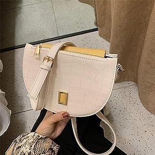 ZZZ Crocodile Pattern Shoulder Bag Fashion Semicircle Cross-body Chic Temperament Wild Handbag Simple Personality fashion (Color : White)
