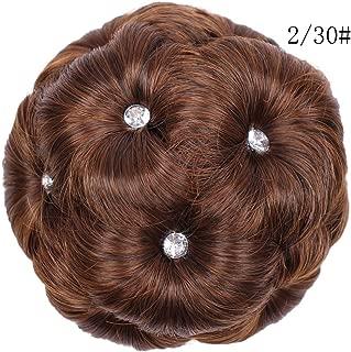 Darringls_peluca,Peluca Femenina Anillo para el Cabello Rizado Novia Maquillaje Diamante Bollo Flores Chignon Peinado (A, 13cm)