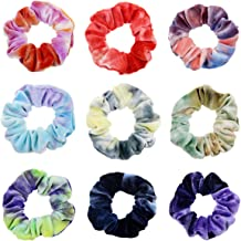 9 Pack Tie Dye Scrunchies for Hair Soft Gradient Color Hair Bands Elastic Rainbow Scrunchies Ponytail Holder Scrunchy for ...