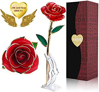 MNIEYU Gold Dipped Rose, Red 24k Gold Plated Rose Eternal Long Stem Forever Rose with Exquisite Holder, Romantic Gift for Valentine's Day, Anniversary, Mother's Day and Birthday