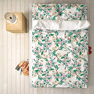 Flower Practical 4 Piece Bedding Set,Pink Cherry Blossoms Pattern with Bumble Bees Japanese Spring Themed Chic Print for Indoor,One Side Print : Queen