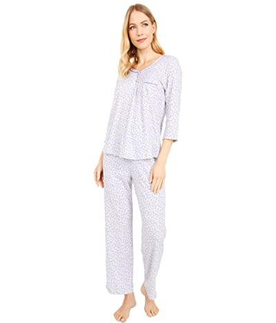 Karen Neuburger Petite Nara 3/4 Sleeve Henley PJ (Heather Grey Ditsy) Women