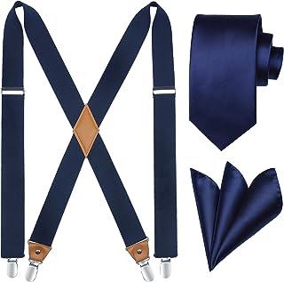 HISDERN Tirantes Sólidos y Corbata Set Hombre Tuxedo Tirantes Elásticos para Pantalones Tirantes X-Back con Clips Fuertes