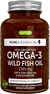 Pure & Essential Hoge Absorptie Omega-3 Wilde Visolie 1360 mg, EPA DHA 1000 mg & Astaxanthine 1 mg, citroensmaak, 180 caps...