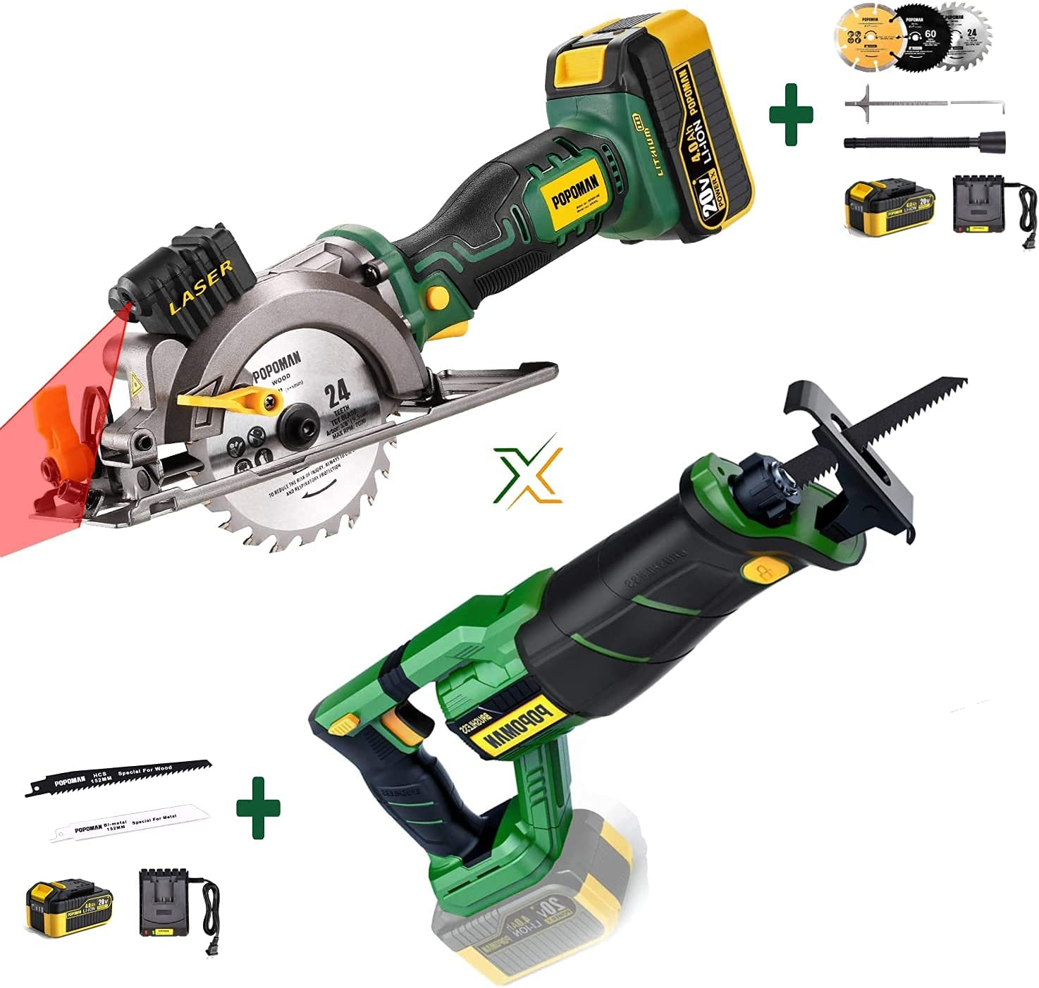 POPOMAN MTW510B Cordless OFFicial site Circular Saw 4.0Ah Cha Sale Special Price BatteryFast 20V