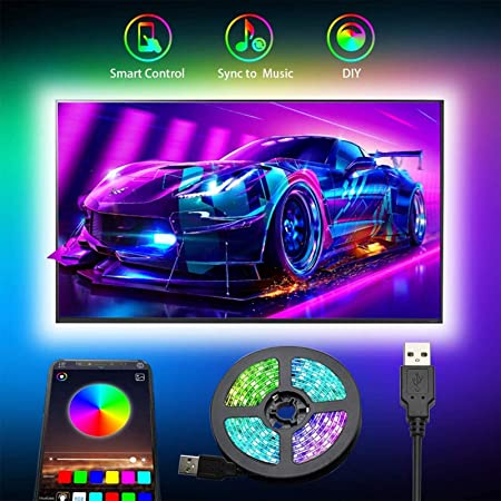 """Bande LED Pour TV, Romwish 3M USB Rubans Lumineux à LED, Bandeau de Lumière LED Synchronisation par Micro à la Musique, Bande lumineuses RGB SMD 5050 pour 40""""""""-60"""""""" HDTV/PC,Mariage, Fête, etc"""