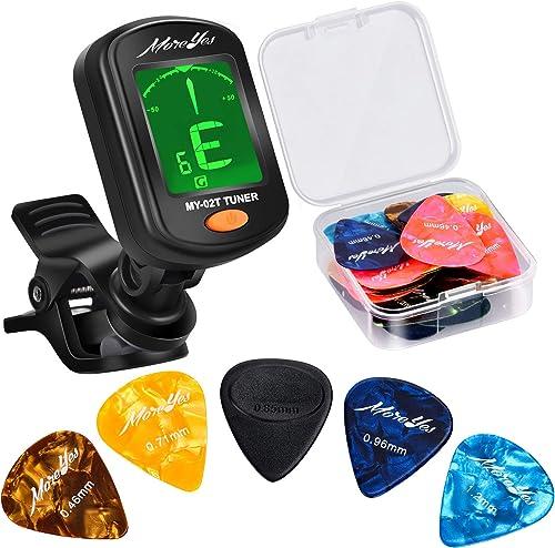 MOREYES Lot de 28 médiators pour guitare acoustique, électrique ou basse 0,46 0,71 0,85 0,96 1,2 mm