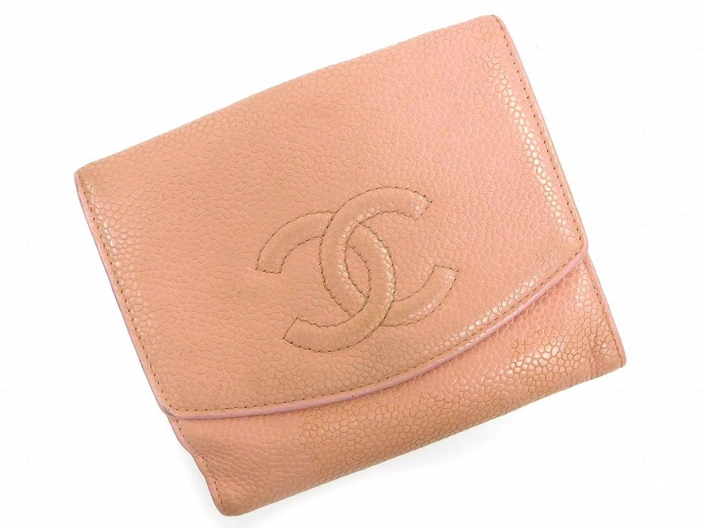 肉勘違いするパトワ[シャネル] CHANEL 二つ折り財布 キャビアスキン×ココマーク レザー X5324 中古