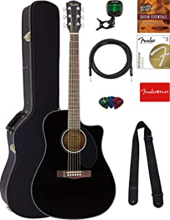 Fender CD-60SCE Solid Top Dreadnought Acoustic-Electric Guitar - Black Bundle with Hard Case, Cable, Tuner, Strap, Strings...