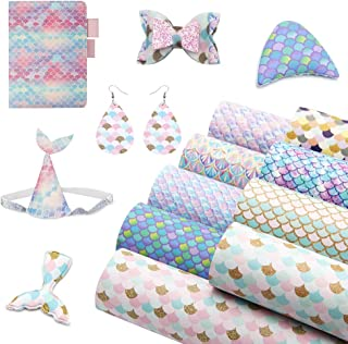 David accessories Mermaid Fish Scale Printed Faux Leather Sheets Synthetic Leather Fabric 9 Pcs 8