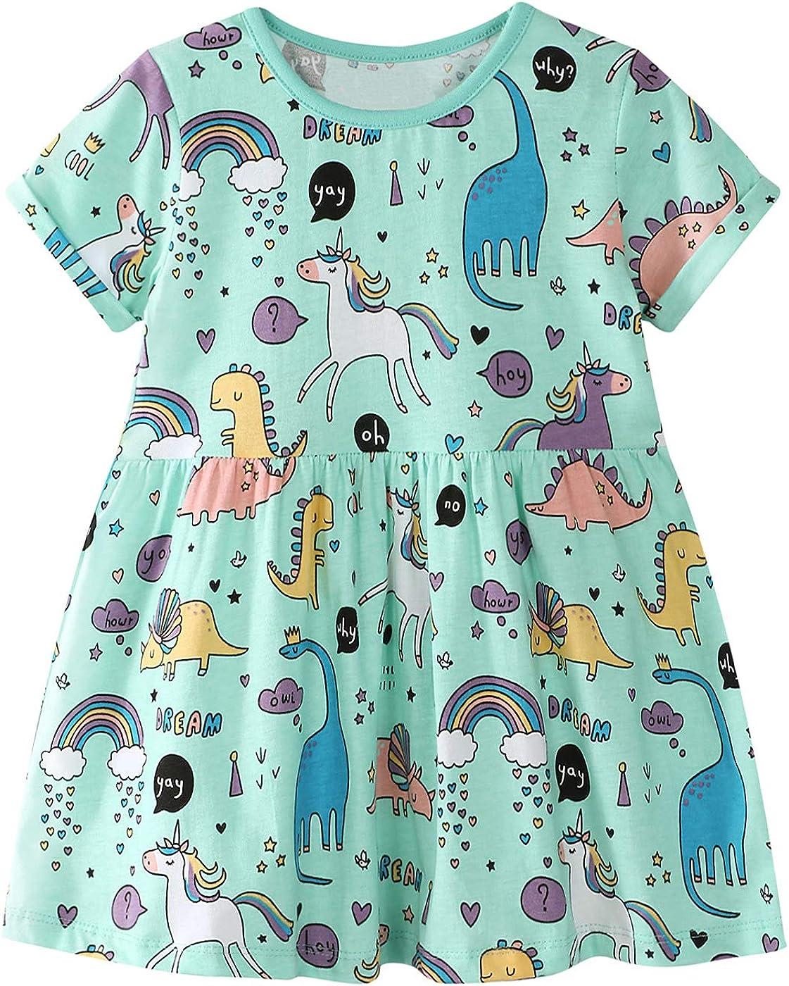 LNKXRTY Girls Cotton Dress Short Sleeve Cute Cartoon Dress Baby Dinosaur Dress Todder Girls Summer Casual Dresses