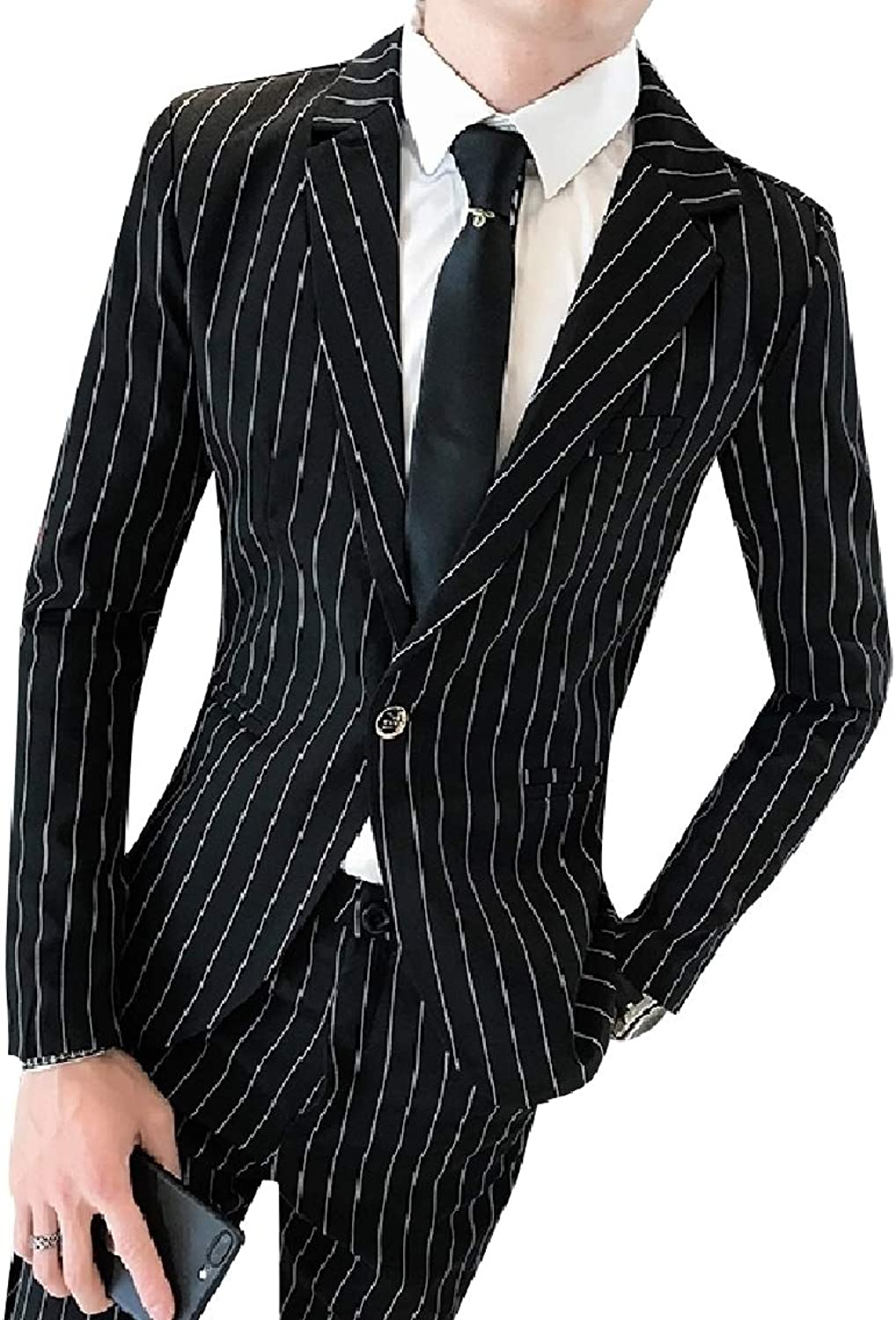 86f67397fb635 Mfasica Men's Men's Men's 2-Piece Oversize Striped Bodycon Suit ...