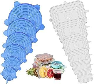 Jumkeet Couvercle Silicone Alimentaire, 12pcs Réutilisable Couvercles Silicone Extensible Carré et Rond pour Conservation ...