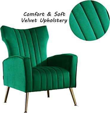 Altrobene Accent Chairs Velvet Armchairs Soft Padded Curved Tufted Wingback Chairs with Golden Finished Metal Legs for Living